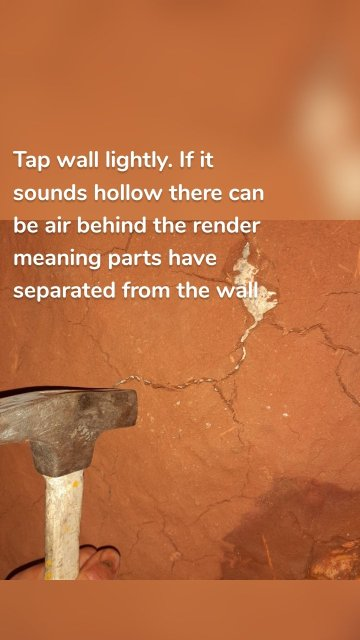 Tap wall lightly. If it sounds hollow there can be air behind the render meaning parts have separated from the wall